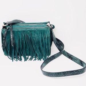NWOT MAKOWSKY Green Leather/Suede Fringe Crossbody